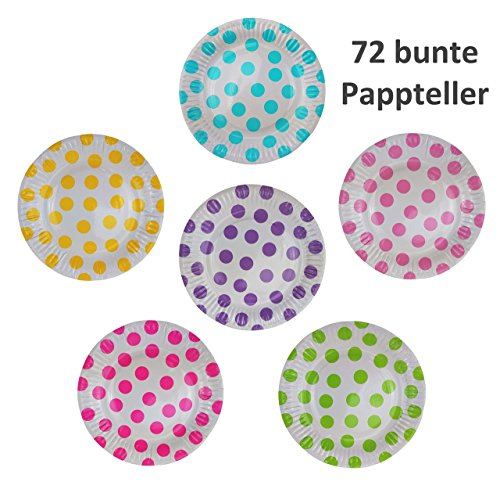 72 Pappteller Ø 18 cm - Bunt, gepunktet, rund, lebensmittelecht, beschichtet, je 12x blau, grün, gelb, pink, lila und rosa