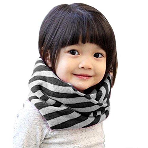 Haifly Winter Loop Baby Schal Kinderschal Kinder Strick Schal Rundschal Schlauchschal für Mädchen und Jungen Schwarz