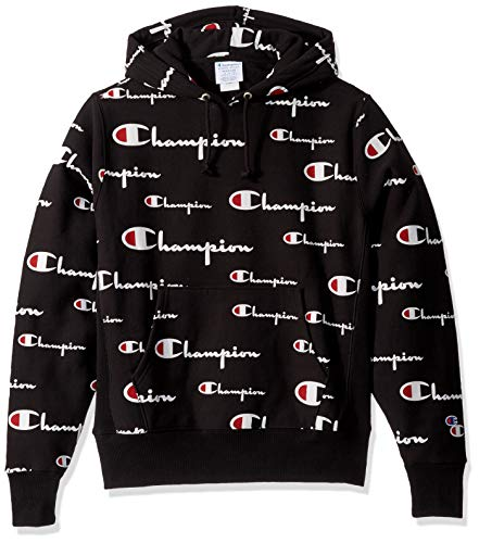 Champion Life Herren Reverse Weave Pullover Hoodie All-Over Print Kapuzenpulli, Multi Scale Script/Black, Mittel (Champion Pullover)
