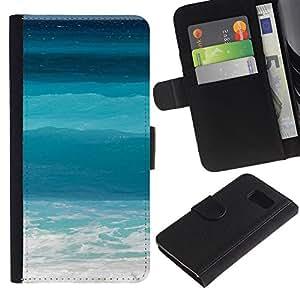 LASTONE PHONE CASE / Luxus Leder Brieftasche Hülle Kartenhalter Flip Schutz Etui für Samsung Galaxy S6 SM-G920 / Ocean Sea Teal Blue Surf Summer Sun