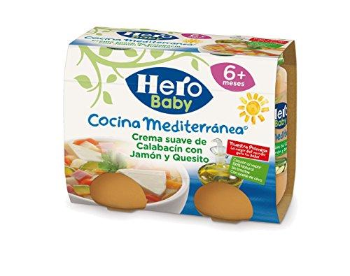 Hero Baby Cocina Mediterránea Crema Calabacin con Jamón y Queso - Paquete de 2 x 190 gr - Total: 380 gr
