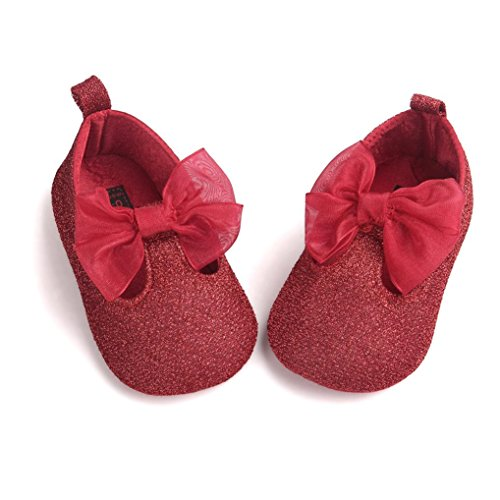 Chaussures de bébé Clode® Baby Girl Bowknot Leater Shoes Sneaker Prewalker Sneakers (12~18 mois, Blanc) Rouge