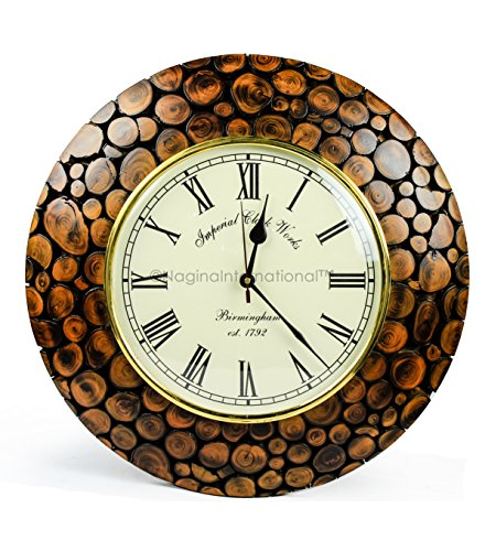 Nagina International Contemporary Colorful Hand Crafted Sliced Logs Wooden Decorative Wall Clock   Premium Wall Decor Accents (Teak Wood)