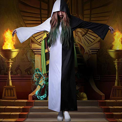 MODYL Halloween-Kostüm Cosplay Erwachsene Weibliche Horror Schwarz Und Weiß Vergänglichkeit Priester Kleidung Qing Zombie Ghost Robe (Für Erwachsene Ghost Robe Kostüm)