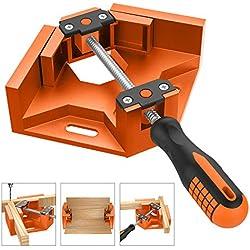 Housolution Pince à Angle Droit en Alliage d'aluminium à 90°, Serre-Joint à Angle Droit Pince à Souder d'étau avec Poignée Ajustable pour le Travail du Bois, l'Ingénierie, le Charpentier - Orange