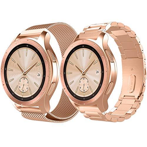 TiMOVO Armband Geeignet für Galaxy Watch 46mm/Gear S3 Classic/Gear S3 Frontier, [2 Pack] Masche und Edelstahl Uhrenarmband Ersatzarmband Handgelenk Strap Band mit Werkzeug - Rose Gold