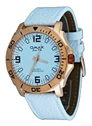 Omax VXL001 Mens White Leather White Dial Casual Analog Sports Watch