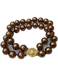 Schmuckwilly Muschelkernperlen Perlenarmband Perlen - Muschelkernperlen Armband 2-reihig braun Hochwertige mb0040