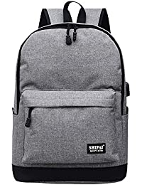 Vibola Girl Boy Zipper Backpack School Bags Fashion Women Bag (Gray)