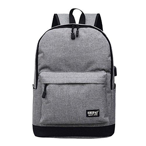 Imagen de esailq bolsos  de unisex mini lona escolares para adolescentes niños niñas estudiantes gris
