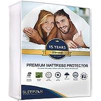 Protège Matelas Imperméable 160 x 200, Molleton 100% coton, alèse de lit imperméable nouvelle génération - Traitement éfficace 3-1 Bi-ome, Anti-Acarien, Antibactérien, Anti-Moisissures, hypoallergénique - Forme drap housse - Respirant et toucher très doux par Sleepzen - Made in Europe - Garantie 15 ans