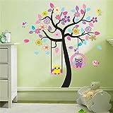 Wandtattoo ZooYoo Wandsticker Baum Eule Deko Kinderzimmer XXL(7)