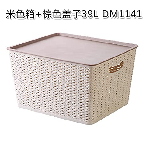 UWSZZ Household plastic storage basket bin desktop storage cassette cover clothing bin Toy storage box debris basket Box beige + Brown lid 39L DM1141