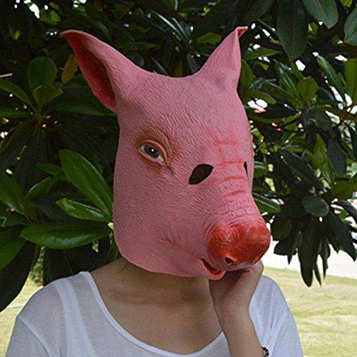 rusero Pig Kopf Maske mit Haar Halloween Party Creepy Scary Latex Masken (Maske Creepy Pig)