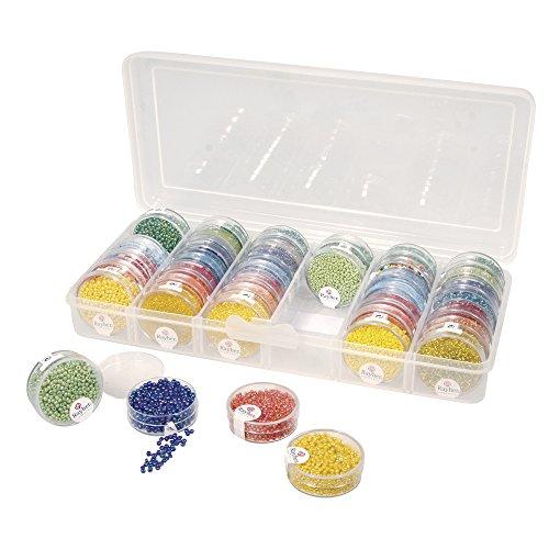 SOLIDMARKT Aufbewahrungsbox, Sortierbox für Rocaillesdöschen, 26,7 x 12,2 x 4,7 cm, inkl. 42 Leerdöschen -