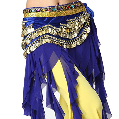 Fusion Dance Tribal Kostüme (Tanzen Accessories Tribal 4 Rows Gold Bead Coins Colorful Beads Bauchtanz Hüfttuch Skirt)