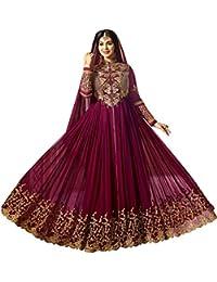 Aryan Fashion Women Georgette Anarkali Semi-Stitched Salwar Suit (Fashion Aryan_=120_106118_Purple_Free Size)