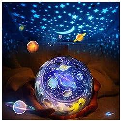FOHYLOY Projecteur Lumiere Bebe,3 Modèles 6 Films Magie 360° Rotation Projection Lampe Veilleuse Pour Fille Enfant Chambre Ciel Nuit étoilée Chambre
