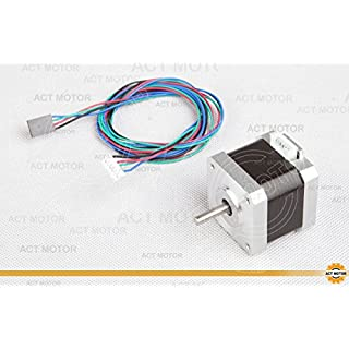 ACT MOTOR GmbH 1PC 17HS4417L20P1-X2 D-Shaft Nema17 Stepper Motor Bipolar 40mm Body 40Ncm Torque 4Wire 300mm Cable 1.7A with 1.8° 2.55V for Robot CNC Schrittmotor