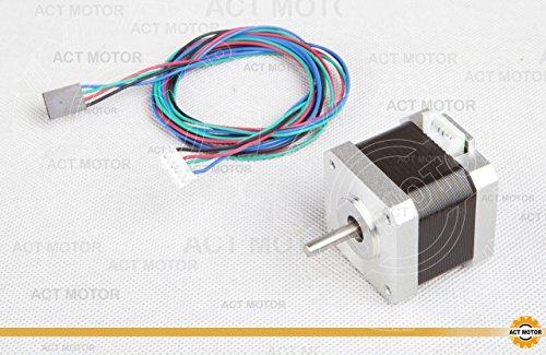 ACT Motor GmbH 1PC Nema17 17HS4417L20P1-X2 Schrittmotor D-flat-shaft 1.7A 40mm 4000g.cm inkl. Kabel mit Connector