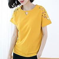 TAIDUJUEDINGYIQIE Camiseta de Manga Corta Slim Cotton, Amarillo, 4XL