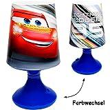 alles-meine.de GmbH LED Tischlampe - Disney Cars - Auto / Lightning McQueen - mit Farbwechsel - Batteriebetrieben - SCHNURLOS & Kabellos - 19 cm hoch - Tischleuchte für Kinder / ..