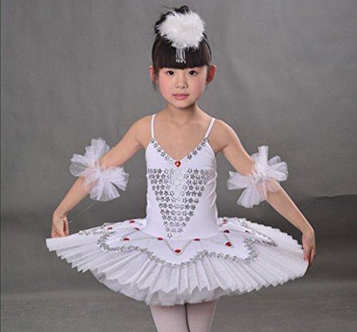 Kind Swan Kostüm White - Kinder Ballett Rock Ballett Sling Tutu Kinder Kostüm Little Swan Dance Rock Weiß/Pink/Rose Rot/Blau, 110cm, White