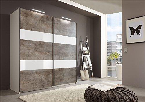 Deutsche Wimex Chess Glas Beton Schiebetür Kleiderschrank mit 180cm grau & weiß