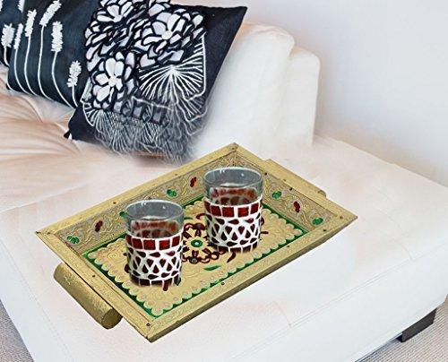 Hölzerne Antike Handcrafted Serviertablett, mit Griff Dekorative Holz und Metall Meenakari Arbeit,...