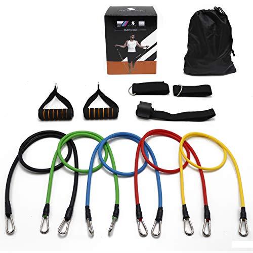 Cave - Fitness Set 11-Teilig, Gymnastikbänder, Widerstandsbänder 10-100lbs, Expander Unisex, Fitnessbänder mit Griffen, Fußschlaufe und Türanker, Ganzkörper Workout für Yoga, Pilates und Fitness