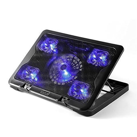 LESHP Refroidisseur Portable Radiateur Cooling Pad USB Ventilateur Portable pour 10-16 Pouces avec 5 Ventilateurs Silencieux 2000RPM (5 fan)