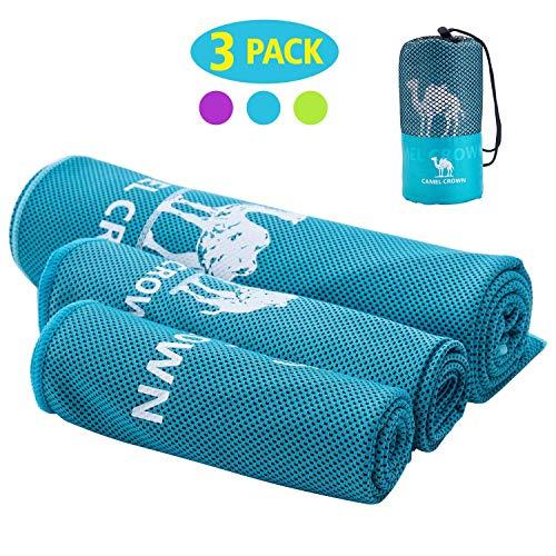CAMEL CROWN 3 Pezzi Asciugamano Raffreddamento Set con Borsa, Asciugamano da Viaggio, Asciugamano Sportivo, Super Assorbente, Asciugatura Rapida per Fitness, Spiaggia, Yoga, Sauna, Pilates, Nuoto