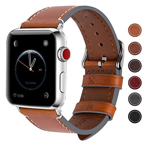 Fullmosa 8 Farben Für Apple Watch Armband 42mm,Wax Series iWatch Leder Band für Apple Watch Serie 5/4/3/2/1,42mm(44mm),Hellbraun + Silber Schnalle
