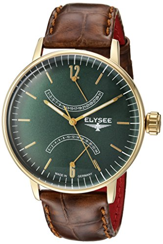 ELYSEE MEN'S SITHON 42MM LEATHER BAND GOLD PLATED CASE QUARTZ WATCH 13292