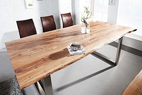 DuNord Design Esstisch Baumstamm Baumkante SOLID 160cm Akazie Massivholz Design Küchen Tisch