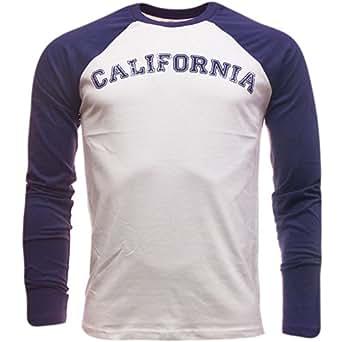 Brave Soul Long Sleeve T-Shirt Plain California Top Colour Blue Size Extra Large