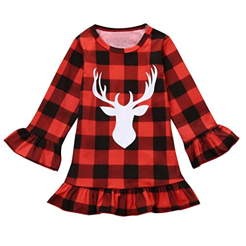 Fuibo Weihnachten Kinder Bekleidung, Kleinkind Kinder Baby Mädchen Deer Plaid Prinzessin Party Pageant Weihnachten Kleid Kleidung (Rot, - Plaid Trenchcoat