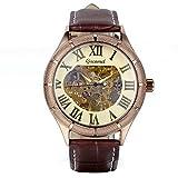 Avaner Herren-Armbanduhr Uhr Klassische Skelett Automatik mechanische Armbanduhr mit Braun Lederband Männer