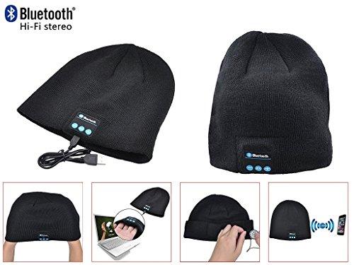 ONX3 Huawei P8lite ALE-L04 (Noir) Pack de Unisexe Une Taille Hiver Bluetooth Chapeau Avec Intégré Wireless Haut-Parleur Stéréo et Touchscreen Gants Noir