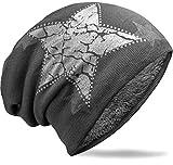 NavyBlu® warmes unisex Beanie Mütze mit Fleece Innenfutter und vintage Stern dunkelgrau M27