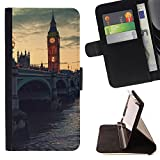 FJCases Londres Inglaterra Reino Unido Postal Vista Carcasa Funda Billetera con Ranuras para Tarjetas y Soporte Plegable para Samsung Galaxy Core Prime
