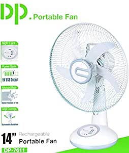 DazzelOn 14-inch Rechargeable Table Fan with LED Light (White)
