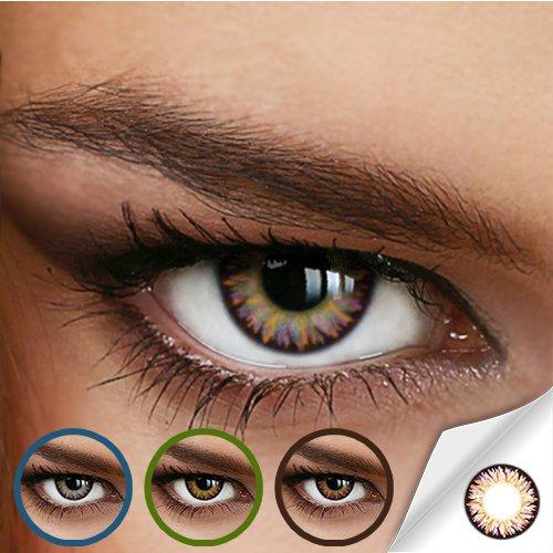 Farbige Jahres-Kontaktlinsen RAINBOW-410 - Ohne Stärke - Pink-Violett - bunt gestrichelt - von LUXDELUX® - (+/- 0.00 DPT)