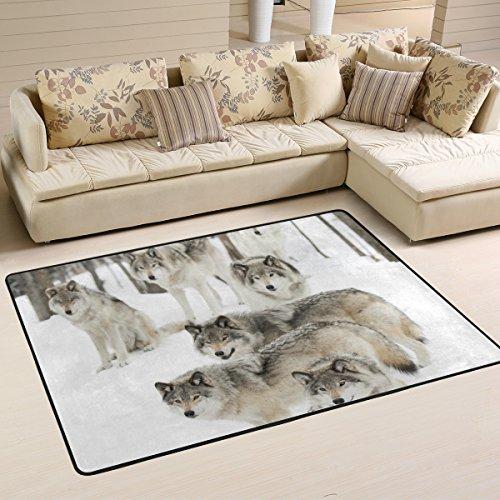 Naanle Animal Wolf Teppich, Wolf-Motiv, aus Polyester, für Wohnzimmer, Esszimmer, Schlafzimmer, Heimdekoration. 4'x6' Multi