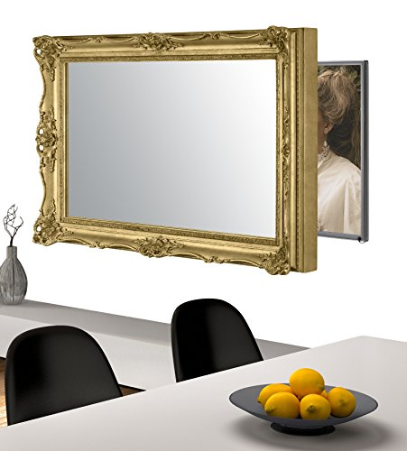 Handmade Framed Mirror to Turn Your Existing TV to Hidden Mirrored Television that Blends into Your Home or Business Decor (32 Inch, Surrey Gold)
