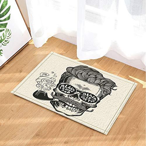 CHENGLVV Vintage Gravur Dekor, Hipster Skull Silhouette mit Schnurrbart Badteppiche, rutschfeste Fußmatte Boden Eingänge Indoor Haustürmatte, Kinder Badematte, 40X60CM, Badezimmerzubehör