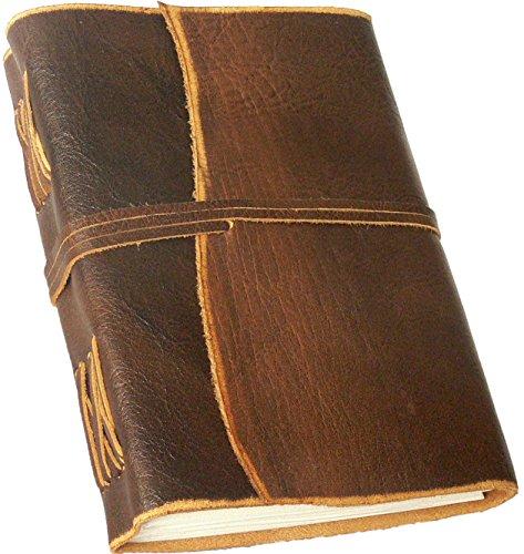 """""""BORDEAUX"""" Leder-Notizbuch/Tagebuch, Lederbuch, Ledereinband - handgeschöpftes Papier - braun im Antik-Look [A5]"""