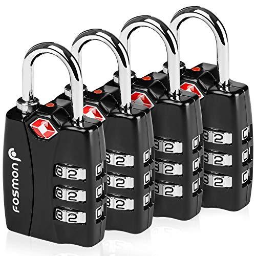 Fosmon (4 Pcs) Serrures à Bagages TSA avec Indicateur D'Alerte  Ouverte,Cadenas de Sécurité à 3 Chiffres,Cadenas à Combinaison,Serrure
