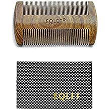 EQLEF ® Barbe peigne en bois, bois de santal vert sans peigne à la main statique, bois de peigne à moustache