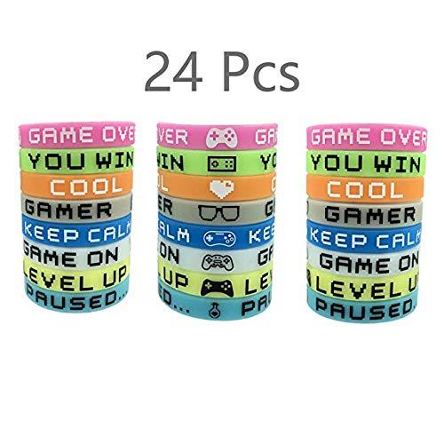 SHANFAA Juego de 24 Piezas Juego de brazaletes de Goma Pulseras para Fiestas Partes de brazaletes de Silicona de Colores para Gamers Favores de Fiesta de cumpleaños, Resplandor en la Oscuridad.